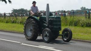 A vintage tractor on its way to an event at the recreation ground