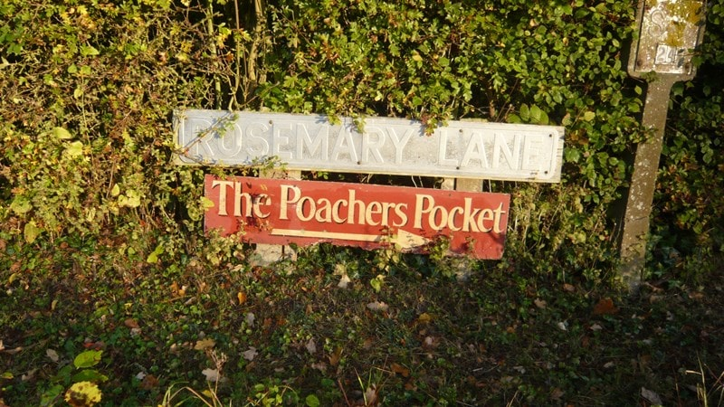The local hostelry - the Poachers Pocket on Rosemary Lane