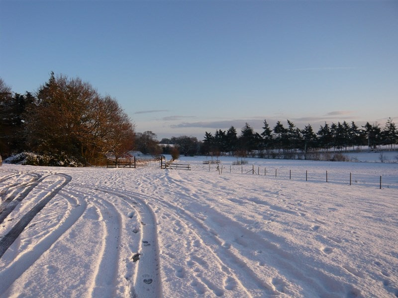 Tyre tracks in the snow at Carlton Park